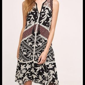 Anthro Floreat Floral Print Embroidered Dress